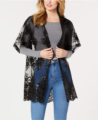Betsey Johnson Betsey Blue Crystal Garden Hooded Kimono