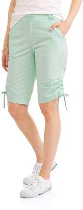Caribbean Joe Women's Side Ruched Poplin Skimmer Shorts