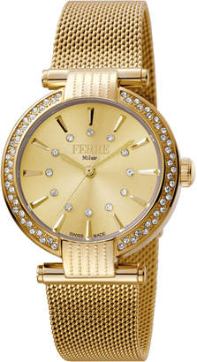 Ferré Milano Women's 34mm Stainless Steel 3-Hand Glitz Milgrain Watch with Bracelet, Golden