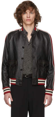 Saint Laurent Black Leather Bomber Jacket