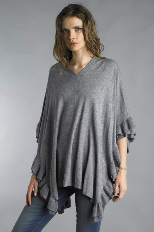 Tempo Paris Ruffle Poncho Sweater
