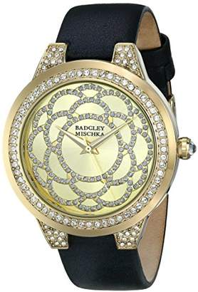 Badgley Mischka Women's BA/1330CHBK Swarovski Crystal Accented Gold-Tone and Black Leather Strap Watch