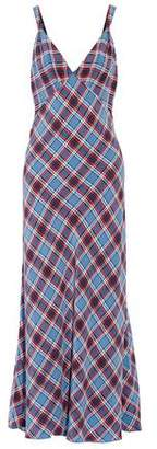 Marc Jacobs Pleated Checked Silk-crepe Maxi Dress