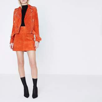 River Island Womens Red suede biker jacket