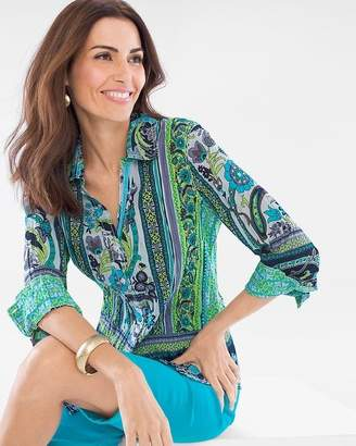 Chico's Cino For Paisley Border Crinkle Shirt