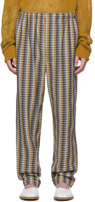 Lemaire Yellow and Blue Seersucker Elasticated Trousers