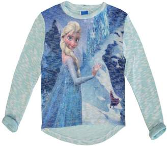 Disney Little Girls Elsa Frozen Winter Print Long Sleeved Top