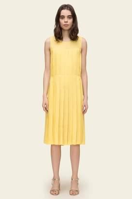 Mansur Gavriel Linen Pleated Sleeveless Dress