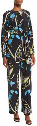 Diane von Furstenberg Long-Sleeve Floral Silk Tie-Waist Jumpsuit