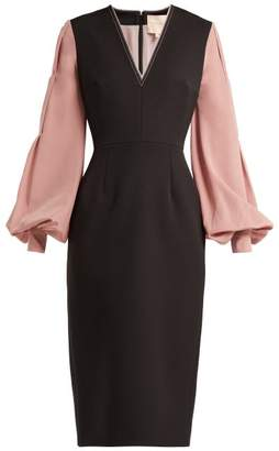 Roksanda Eryn Crepe Midi Dress - Womens - Black Pink