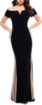Xscape Evenings Caviar Bead Detail Off the Shoulder Gown