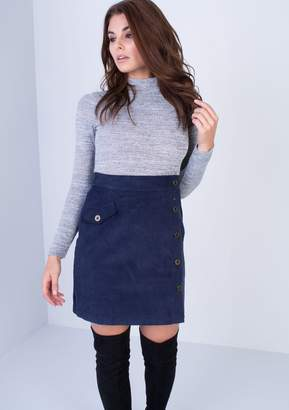 Missy Empire Missyempire Christelle Navy Ribbed Button Up Mini Skirt