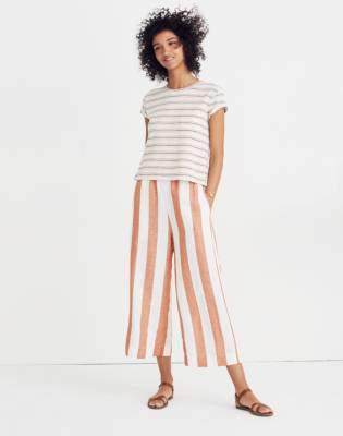 Madewell Huston Pull-On Crop Pants in Evelyn Stripe