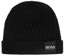 BOSS Hugo Knitted beanie hat in structured virgin wool One Size Black