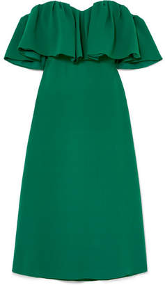 Lela Rose Off-the-shoulder Ruffled Silk-cady Dress - Green