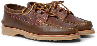 Yuketen Ghillie Textured-Leather Boat Shoes - Men - Brown