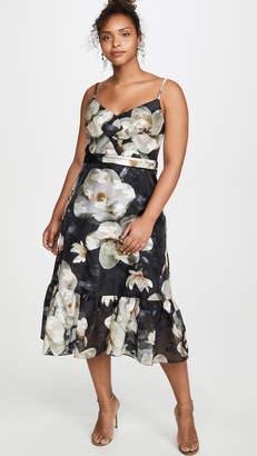 Marchesa Ruffle Hem Cocktail Dress