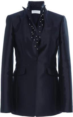 Gabriela Hearst Serge Blazer Silk-Blend Blazer With Fresh Water Pearl Detail