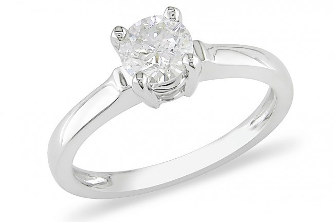 Ice 3/4 CT Diamond 14K White Gold Solitaire Engagement Ring