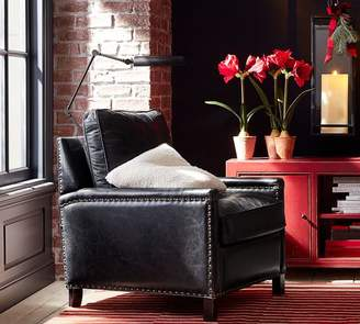 Pottery Barn Tyler Leather Square Arm Armchair