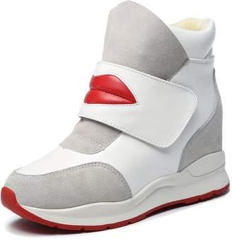 Myra Women's Print Red Lip Hidden Heel Wedges Boots Hook&loop Winter Velvet Sneakers