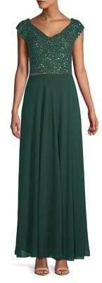 J Kara Petite Embellished Cowlneck Gown