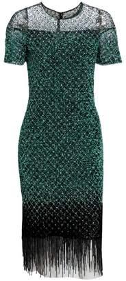 Pamella Roland Signature Beaded Grid Fringe Sheath Dress