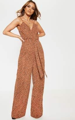 4f0b234da0 PrettyLittleThing Petite Dark Nude Leopard Print Strappy Tie Waist Jumpsuit