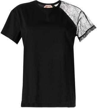 No.21 lace sleeve T-shirt