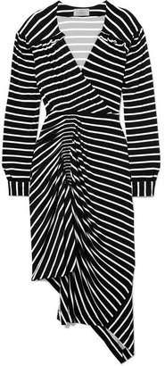Preen by Thornton Bregazzi Annabel Asymmetric Ruched Striped Stretch-jersey Dress - Black