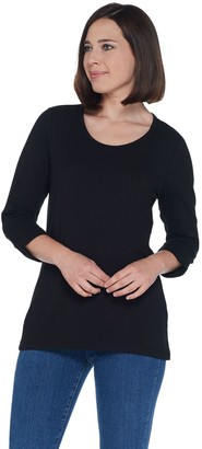 Denim & Co. Essentials Scoop-Neck Knit Top with Shirring Detail