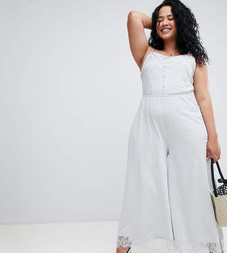 Asos DESIGN Curve cami jersey jumpsuit with lace trim and button front
