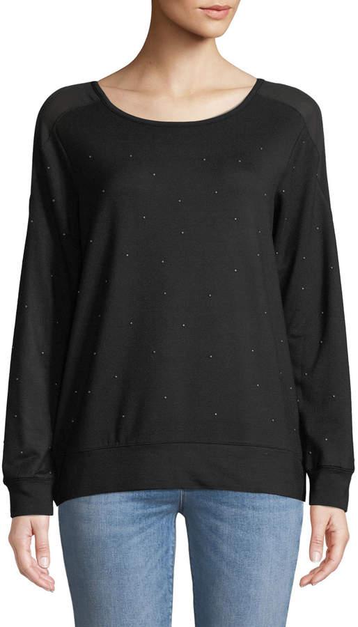 Love Scarlett Petite-Studded Boat-Neck Sweatshirt