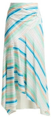 Peter Pilotto Striped Asymmetric Jersey Skirt - Womens - Green Multi
