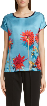 Dries Van Noten Hellquist Floral Print Silk Front Tee