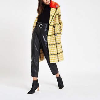 River Island Yellow check faux fur collar coat
