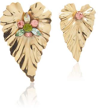Rodarte Gold Stud Leaf Earrings with Swarovski Crystal Details