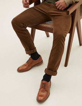 Marks and Spencer Leather Saffiano Print Derby Shoes