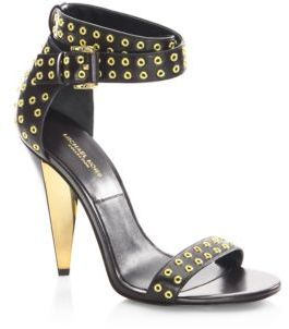 Michael Kors Collection Niki Runway Leather Ankle-Strap Sandals