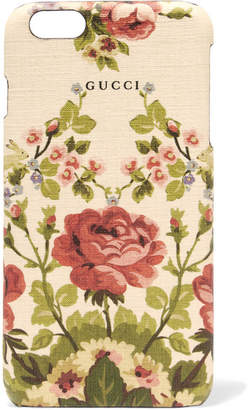 Net-a-Porter Gucci for Adonis Floral-print Textured Iphone 6 Plus Case - Antique rose