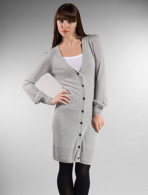 Adam Bamboo Cashmere Deep V Long Cardigan in Light Grey