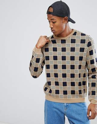 Asos All Over Check sweater In Tan