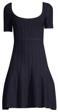 Herve Leger Women's Short Sleeve Jacquard A-Line Dress - Pacific Blue - Size XS