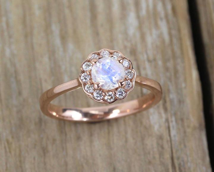 Etsy Moonstone Engagement Ring, Moonstone Antique Rose Gold Ring, Moonstone Vintage Ring, Rainbow Moonsto