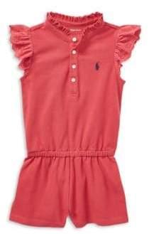 Ralph Lauren Baby Girl's Flutter-Sleeve Cotton Romper