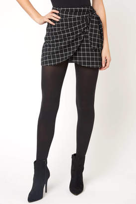 Abbeline Soft Check Tie Wrap Mini Skirt