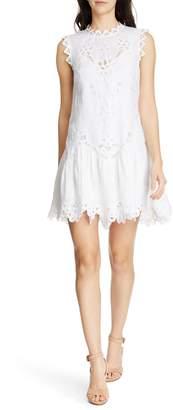 84e616386b Rebecca Taylor Terri Embroidered Linen Minidress
