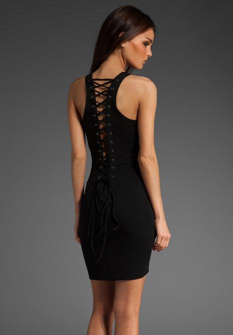Barlow Ponte Lace Back Mini Dress