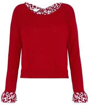 Oscar de la Renta Printed Crepe De Chine-Trimmed Wool Sweater