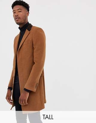 Gianni Feraud Tall premium wool blend single breasted classic overcoat with velvet collar